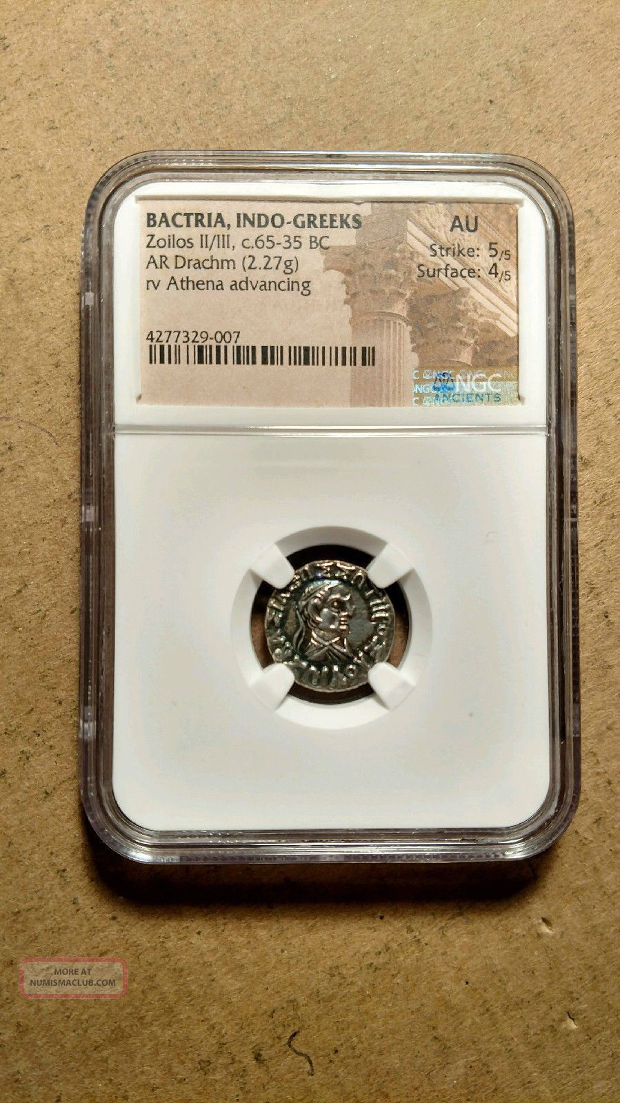Bactria Indo - Greeks King Zoilos Ii Silver Drachm 65 - 35 Bc Ngc Au 5/5 4/5 Athena Coins: Ancient photo
