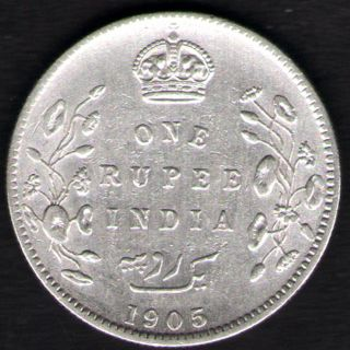 British India - 1905 - Edward Vii One Rupee Silver X - Fine Coin Ex - Rare Date photo