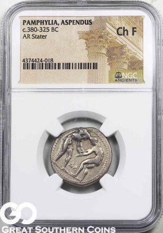 Pamphylia,  Aspendus,  C.  380 - 325 Bc,  Ar Stater Ngc Ch F Scarce Ancients photo