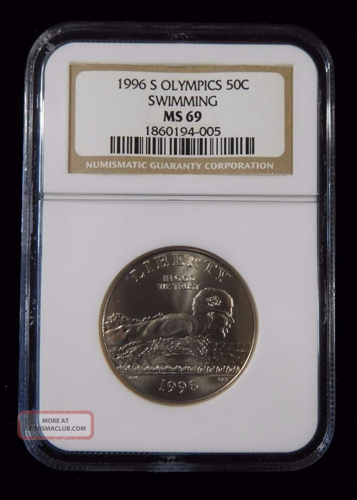 1996 - S Ngc Ms69 Olympics Swimming 50c Commemorative Silver Half Dollar Coins: World photo