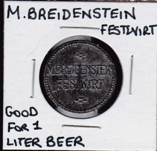 Vintage M.  Breidenstein German 1 Liter Beer Token photo