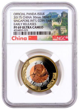 2017 - S China Singapore Intl Coin Fair Tri - Metal Panda Ngc Pf69 Uc Er Sku47421 photo