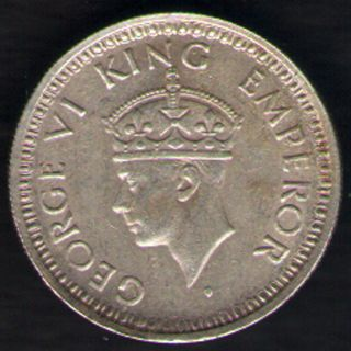 British India - 1944 - George Vi 1/4 Rupee Silver Coin Ex - Rare Coin photo