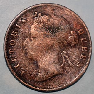 Straight Settlement Queen Victoria 1895 1 Cent Copper Coin Very Rare - 9.  01gm photo