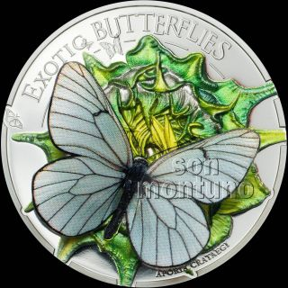2017 Mongolia - Exotic Butterflies In 3d Silver Proof Coin - Black Veined White photo