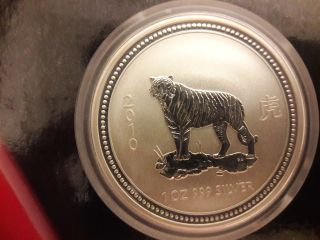 2007/2010 Australian Lunar Year Of The Tiger 1oz Pure.  999 Silver In Capsule Bu photo