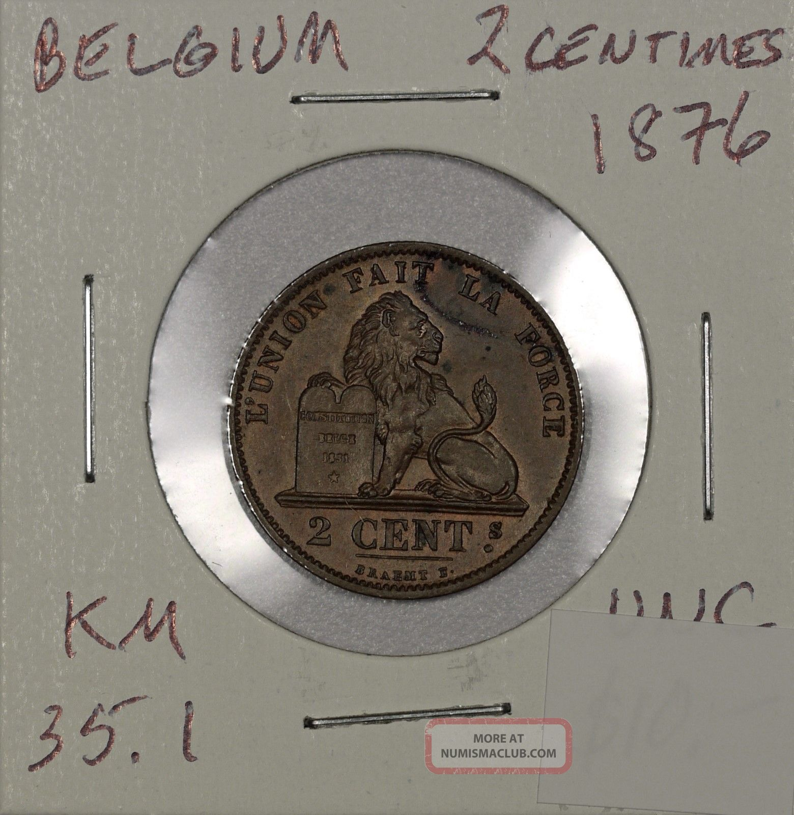 Belgium 2 Centimes 1876.  Uncirculated.  Km 35.  1 Belgium photo