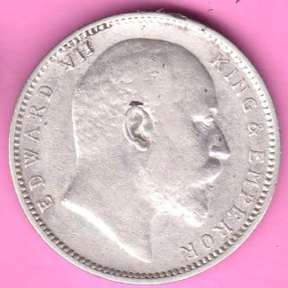 British India - 1904 - King Edward Vii - One Rupee - Rarest Silver Coin - 47 photo