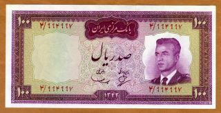 Iran,  100 Rials,  Nd (1965),  P - 80,  Unc Shah Pahlavi photo