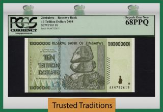 Tt Pk 88 2008 Zimbabwe 10 Trillion Dollar Reserve Bank Pcgs 68 Ppq Finest photo