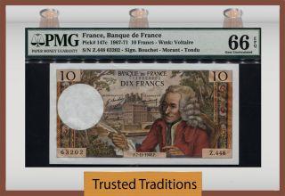 Tt Pk 147c 1967 - 71 France 10 Francs ' Voltaire