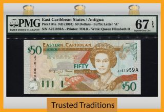 Tt Pk 34a 1994 East Caribbean States 50 Dollars Pmg 67 Epq Pop 3 Finest Known photo
