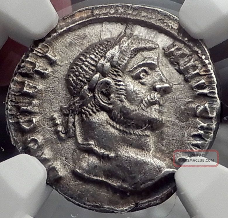 Diocletian 294ad Silver Argenteus Ancient Silver Roman Coin Tetrarchy Ngc I58236 Coins: Ancient photo