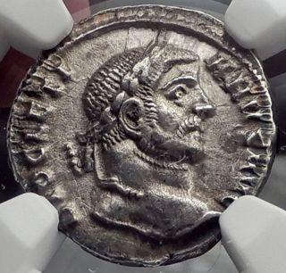 Diocletian 294ad Silver Argenteus Ancient Silver Roman Coin Tetrarchy Ngc I58236 photo