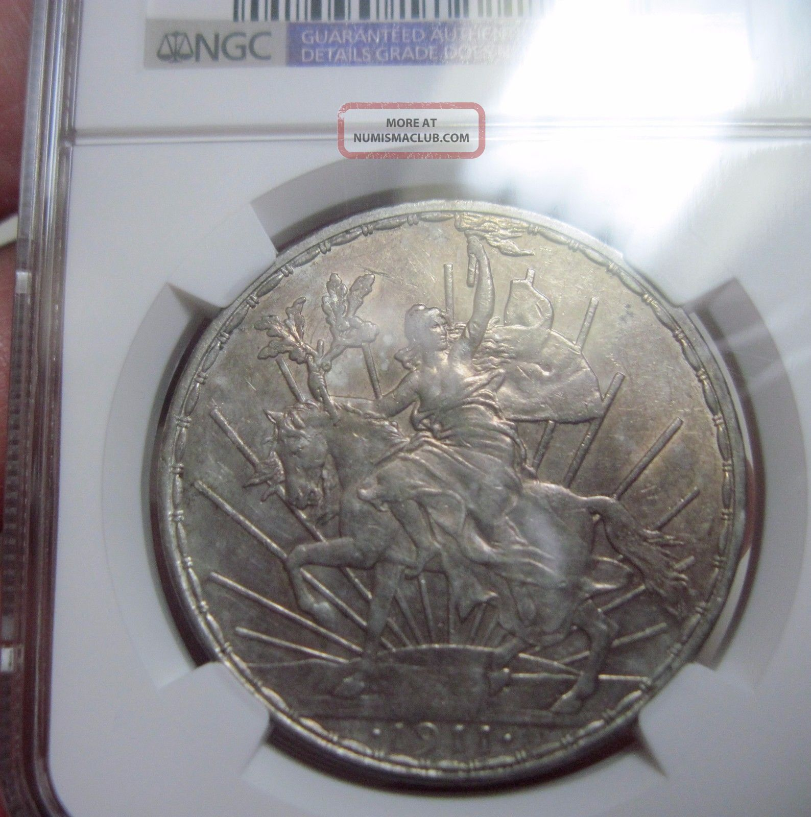 1911 (mexico) 1 Peso (silver) Caballito (long Ray Variety) - - Au Details - - Ngc - - Mexico photo