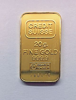 Credit Suisse 999.  9 Fine Gold 20 Gram Bar - National Bank Of Abu Dhabi - Uae photo