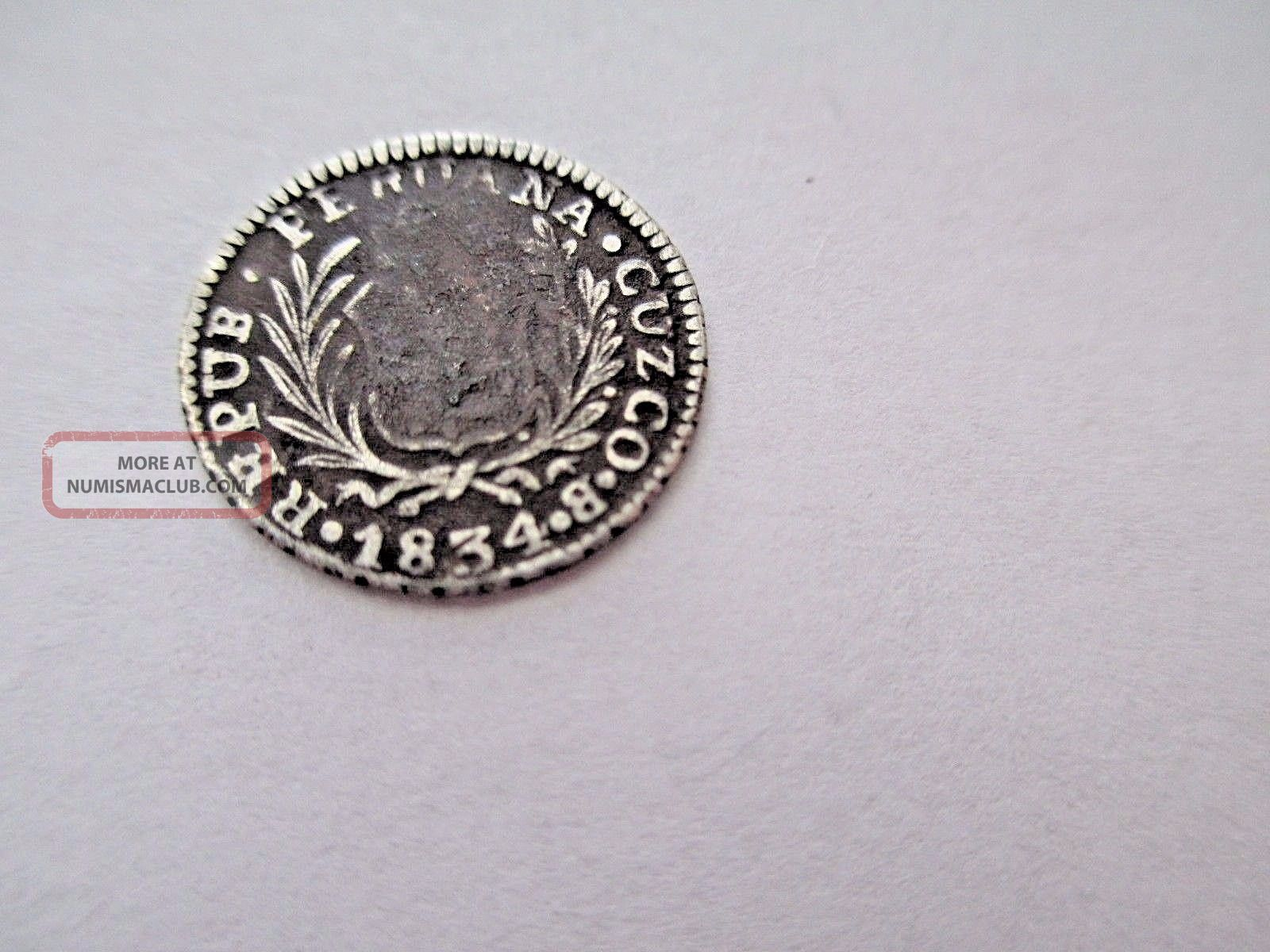 Rare Cuzco Peru 1/2 Real 1834 B 1.  6 Grams 17mm Diameter South America photo