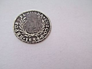 Rare Cuzco Peru 1/2 Real 1834 B 1.  6 Grams 17mm Diameter photo