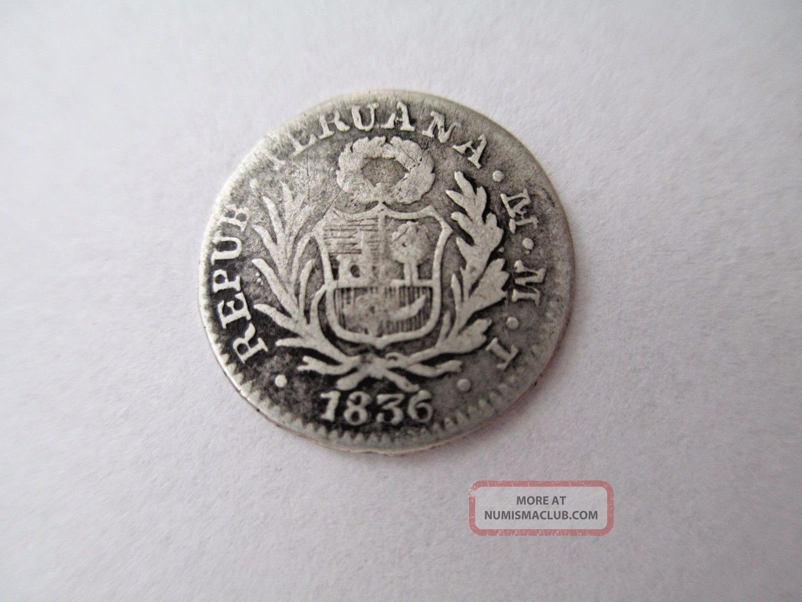 Peru Lima 1/2 Real 1836 M T 1.  3 Grams 903 Silver 16mm Diameter South America photo