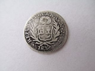 Peru Lima 1/2 Real 1836 M T 1.  3 Grams 903 Silver 16mm Diameter photo