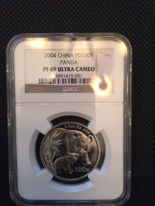 2004 China Panda Palladium 100 Yuan Ngc Pf69uc,  Ncs Conserved photo
