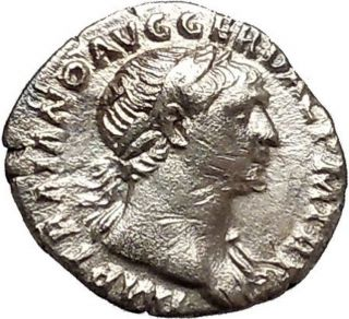 Trajan 115ad Very Rare Ancient Silver Roman Coin Equality Goddess Cult I41087 photo