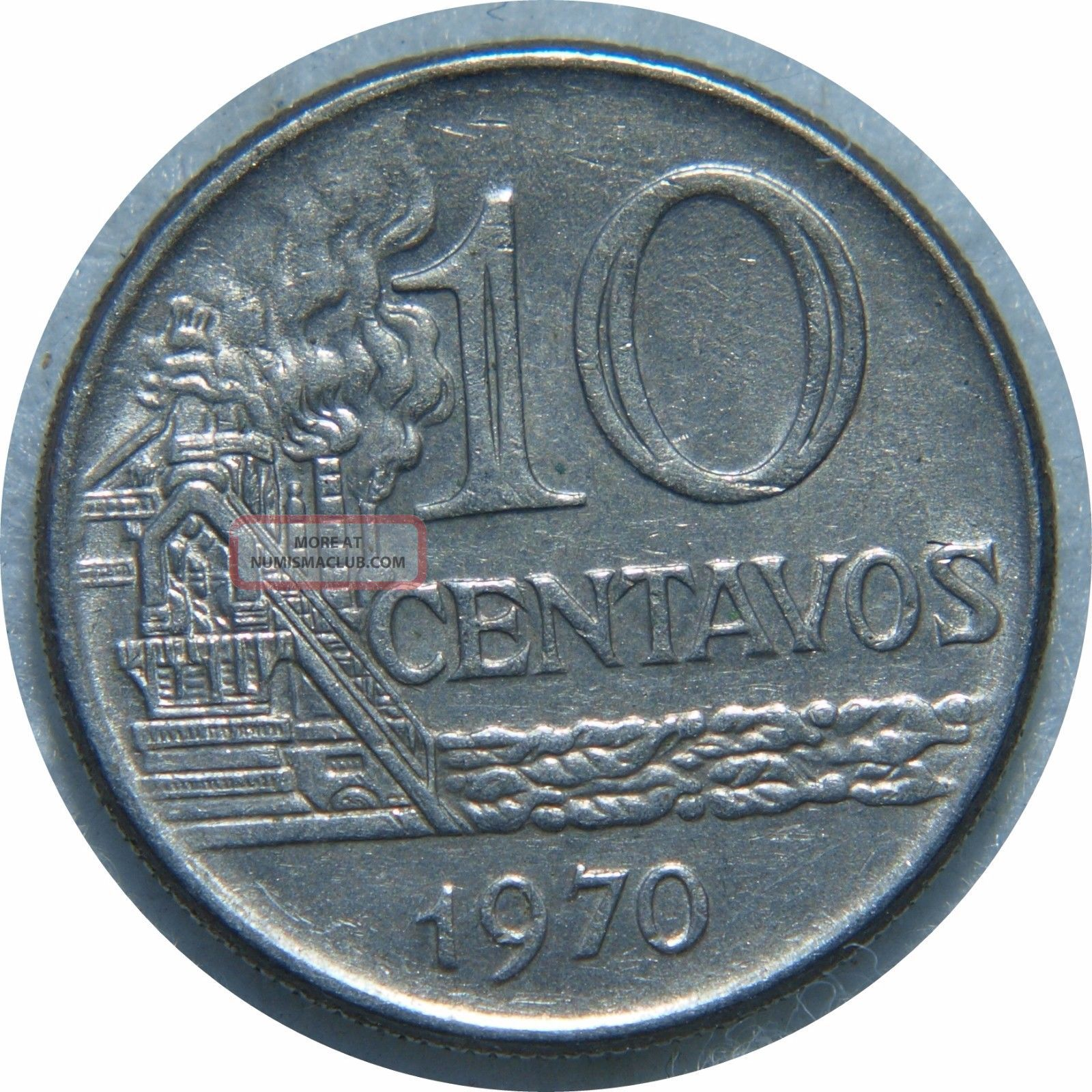 Brazil 10 Centavos 1970 Km 578.  1 Stainlees Steel N75 South America photo