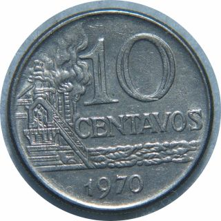 Brazil 10 Centavos 1970 Km 578.  1 Stainlees Steel N75 photo