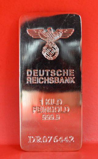 Deutsche Reichsbank Bank 1 Kilo Feingold Bullion 999.  9 Gold Bar 1997 photo