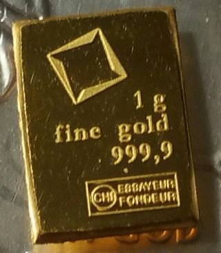 1 Gram Valcambi Suisse Gold Bar.  9999 Pure photo
