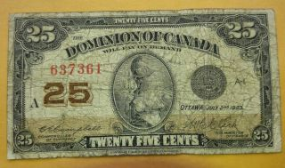 1923 Dominion Of Canada 25 Cent Bank Note Shinplaster Circulated Fractional 7 photo