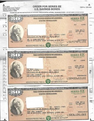 Us Savings Bond Uncanceled (3) $50.  00 Savings Bond Series Ee Uncashed photo