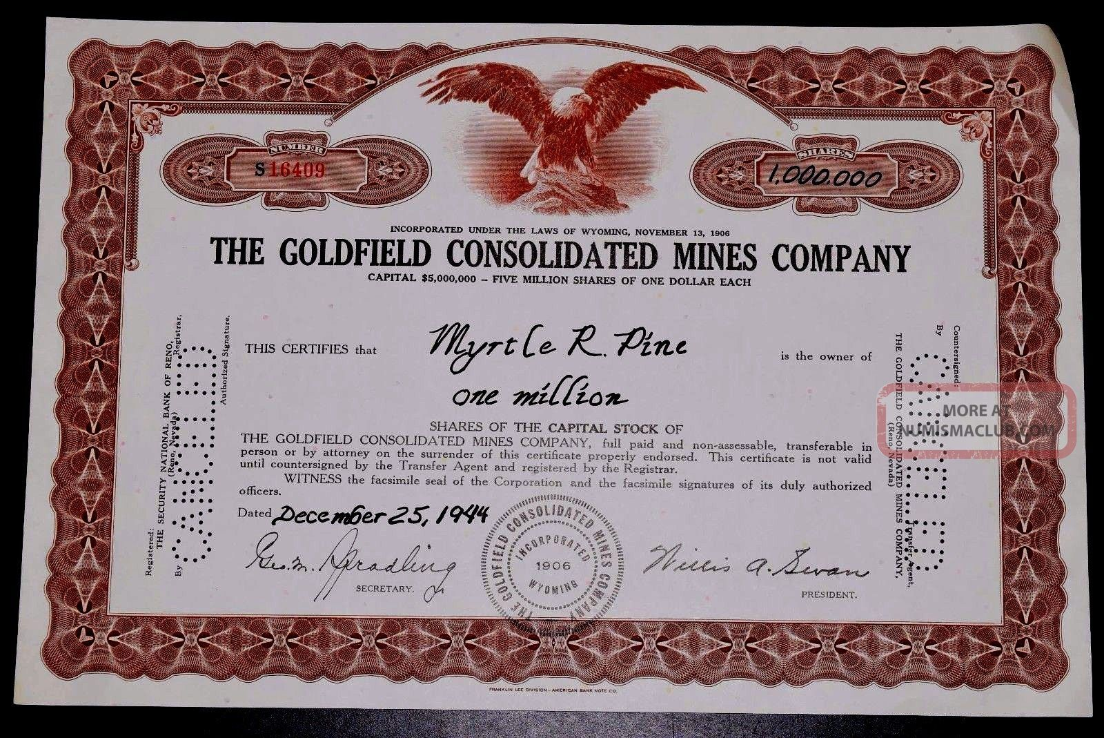 One Million Shares Of Capital Stocks Of The Goldfield Consolidation Mines 1944 Stocks & Bonds, Scripophily photo