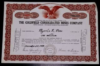 One Million Shares Of Capital Stocks Of The Goldfield Consolidation Mines 1944 photo