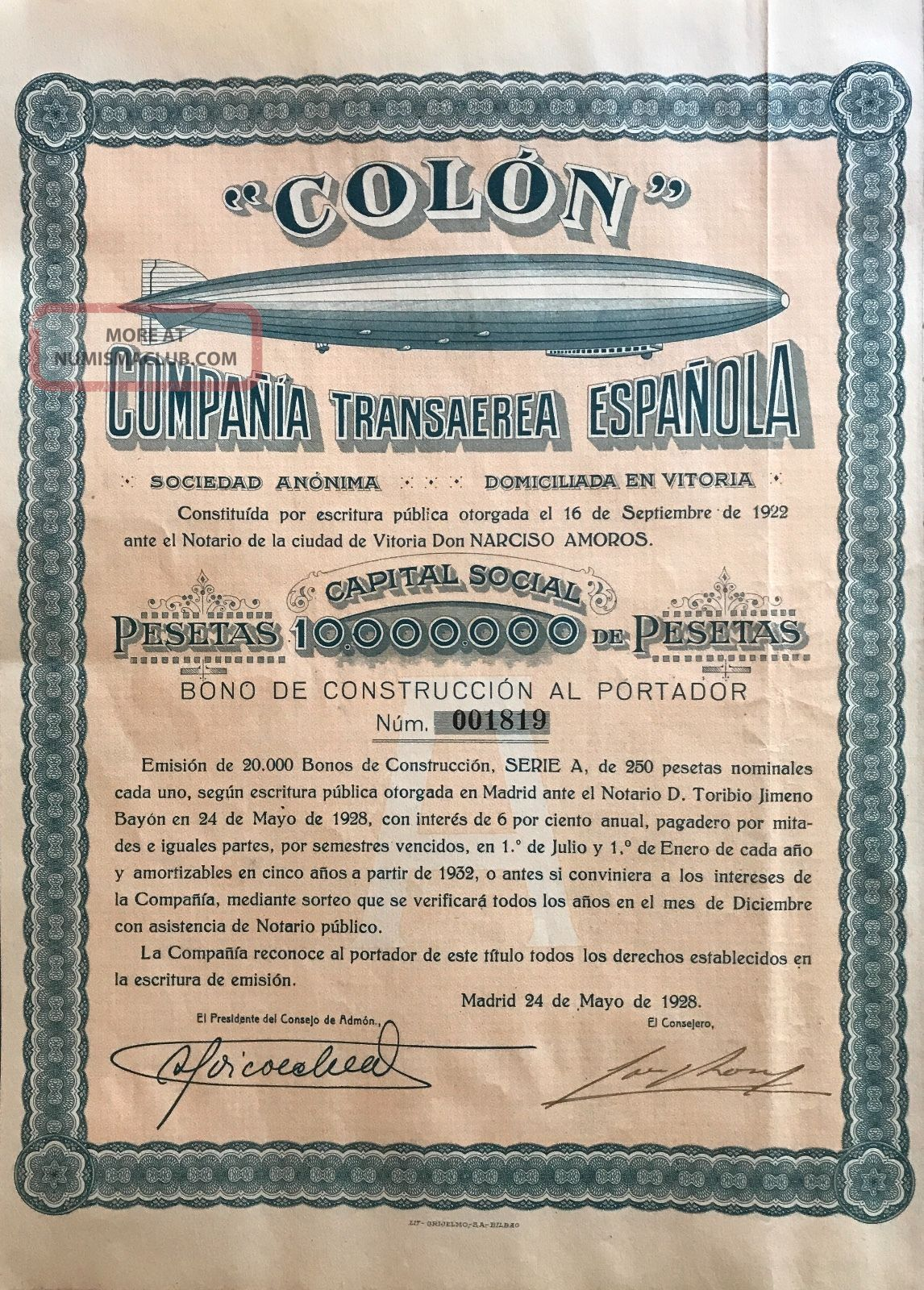 1928 Spain Spanish Zeppelin Airship Company Stock Certificate Construction Bond Transportation photo