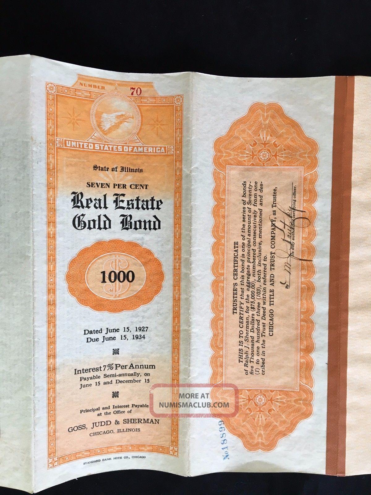 Vintage 7 Real Estate Gold Bond $1000 Demonination State Of Illinios World photo