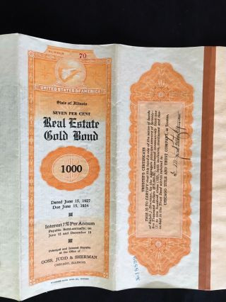 Vintage 7 Real Estate Gold Bond $1000 Demonination State Of Illinios photo