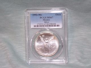 1993 - Mo Pcgs Ms67 1 Onza.  999 Silver Libertad photo
