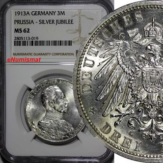 German States Prussia Wilhelm Ii Silver 1913 - A 3 Mark Ngc Ms62 Km 535 photo