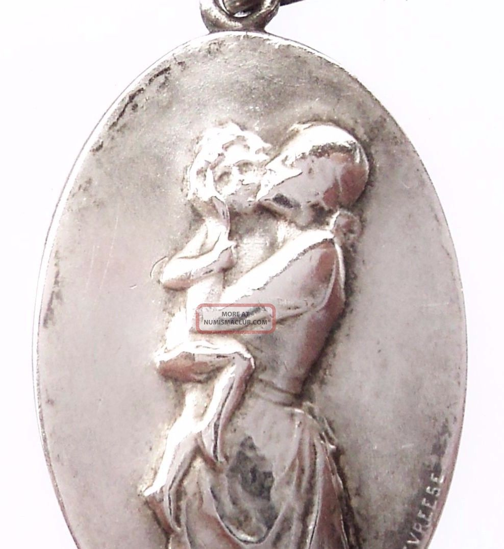 Mother Love - Antique Art Nouveau Medal Pendant Signed By Godefroid Devreese Exonumia photo