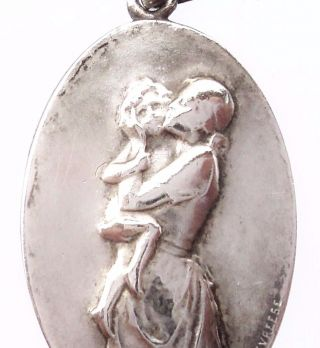 Mother Love - Antique Art Nouveau Medal Pendant Signed By Godefroid Devreese photo