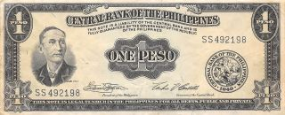 Philippines 1 Peso 1949 Series Ss Circulated Banknote Mx1116sf photo