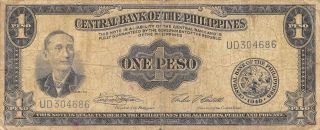 Philippines 1 Peso 1949 Series Ud Circulated Banknote Mx1116sf photo