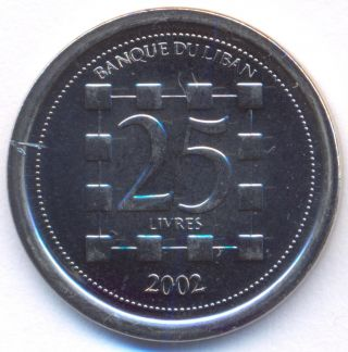 Lebanon,  25 Livres,  A.  D.  2002,  Uncirculated photo