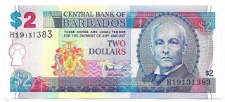 Barbados Central Bank Currency.  $2.  00 Unc photo