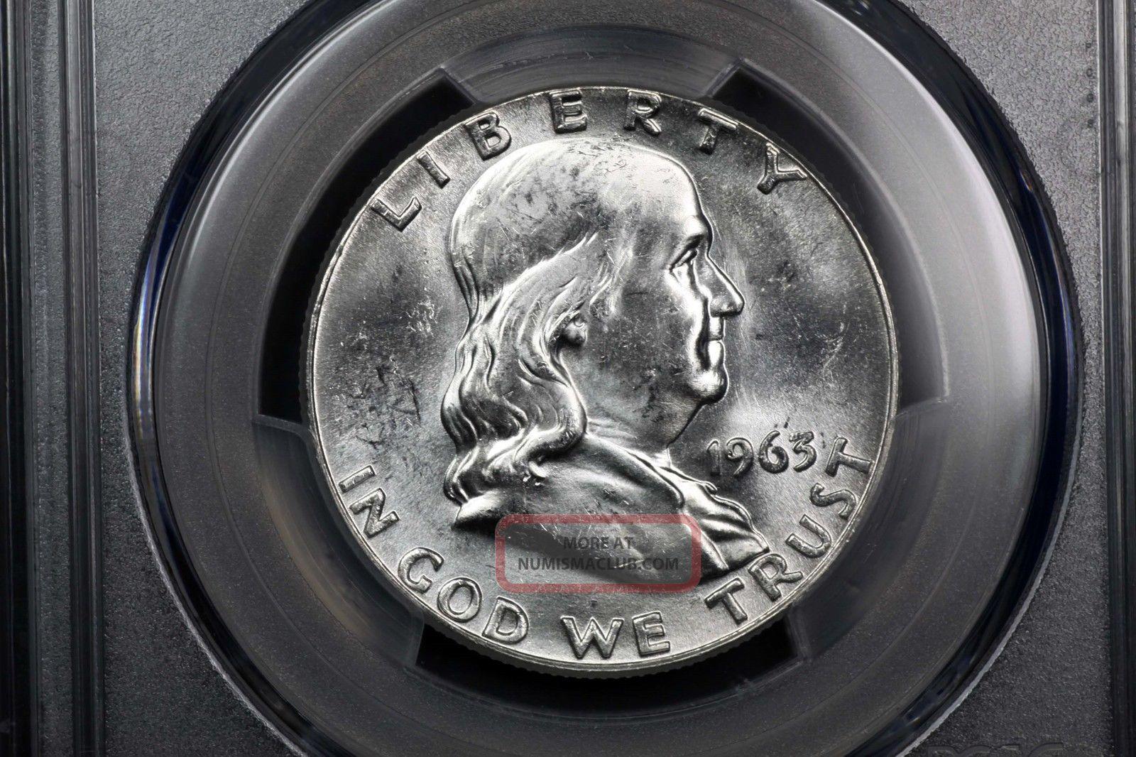 1963 Franklin Silver 50c Ms 64 Pcgs 84366456 Franklin (1948-63) photo