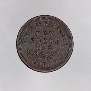 1863 Louis Strauss & Co.  Civil War Token Elmira Ny photo