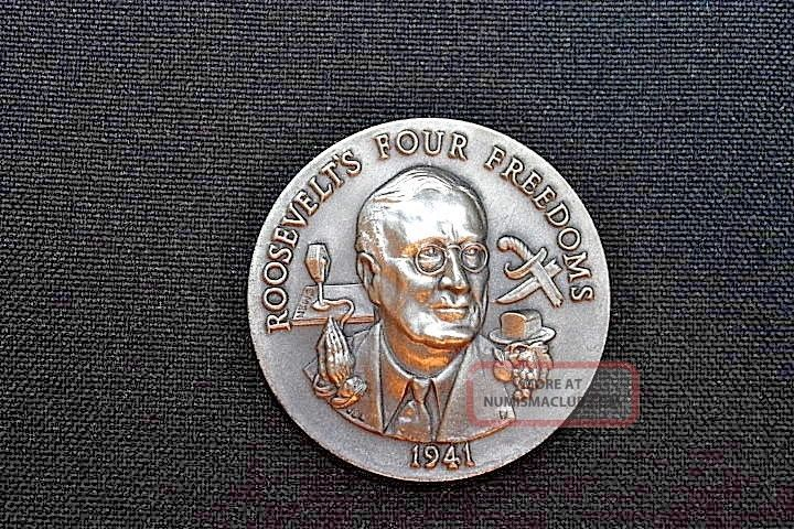 Longines Symphonette Sterling Silver Roosevelts Four Freedoms Medal 1941 Exonumia photo