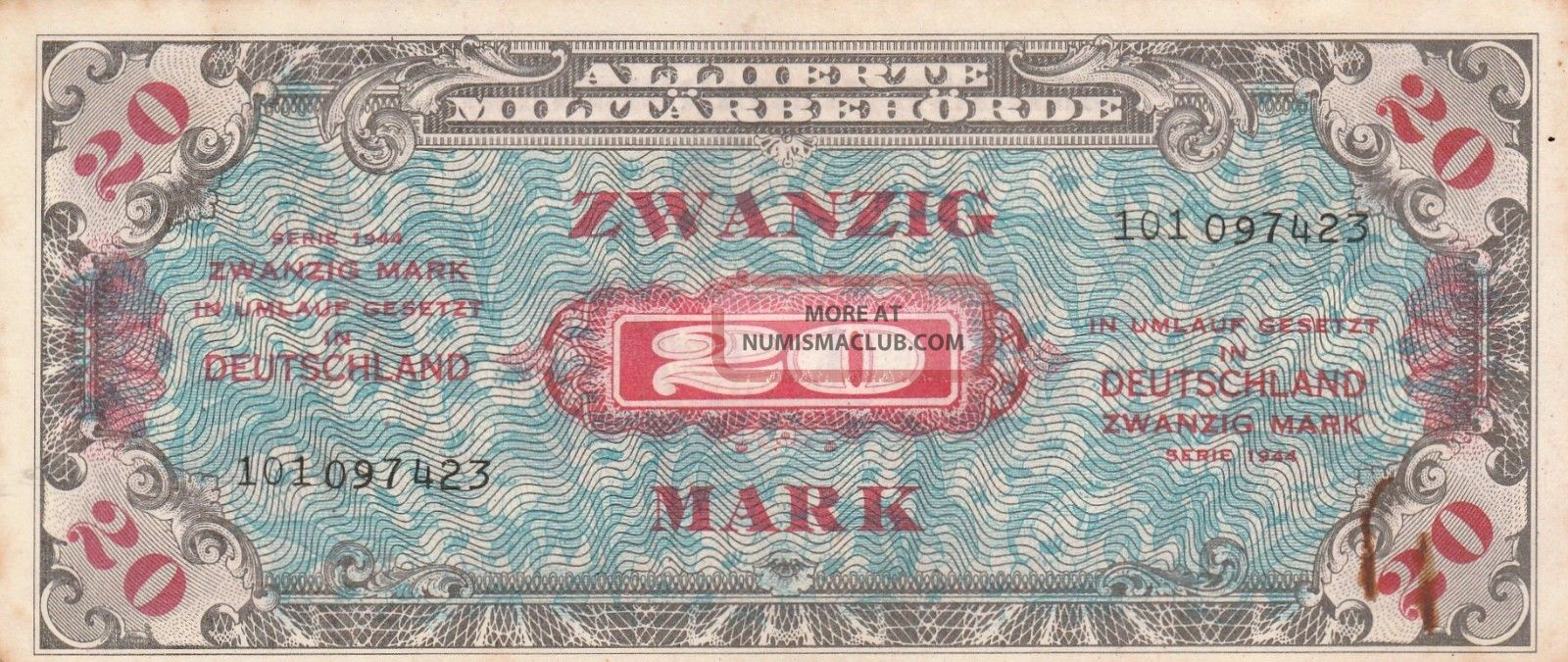 Germany - Wwii - Allied Military Currency (amc) 20 Mark Note - 1944 - Europe photo