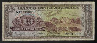 Guatemala 1/2 Quetza 1961 Pic 41c photo